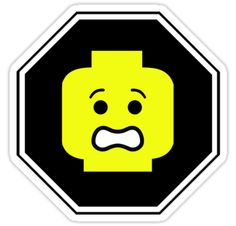 SCARED MINIFIG FACE ROADSIGN STICKER DECAL by Customize My Minifig by ChilleeW