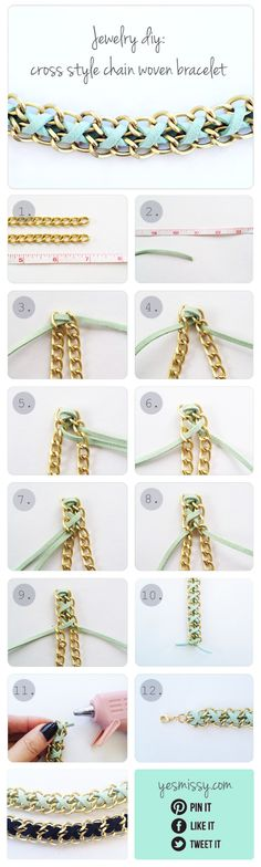 DIY Bracelet: Cross Style Chain Woven Bracelet.  So cool!  This would be easy to switch out with a variety of chains, leather, or ribbon.