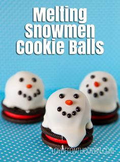 Adorable little snowmen truffles on top of Oreos.  So cute, totally making these for Christmas.
