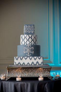 grey and white wedding cake, modern wedding cake, pattern wedding cake,