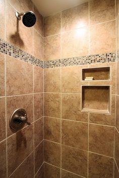 Ceramic Tile Shower - After by John M. Ransone, Builder, via Flickr tile design, clean design, tiles shower, ceramic tile shower, ceram tile, master bathrooms, bathroom ideas, glass tiles, tile showers