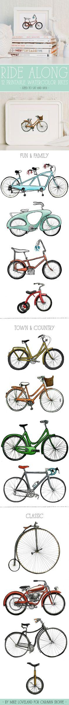 Printable watercolor bikes