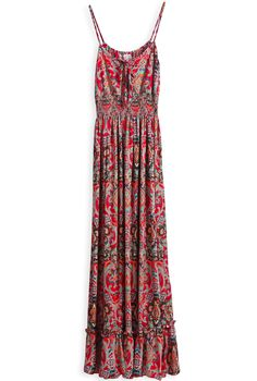 Red Spaghetti Strap Floral Pleated Long Dress