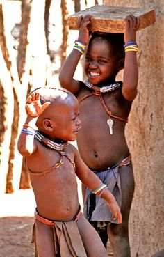 Himba children playing and dancing - Namibia