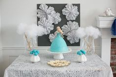 An amazing CAKE at this Disney's Frozen themed birthday party with Such Cute Ideas via Kara's Party Ideas | Cake, cupcakes, favors, printables, and MORE! KarasPartyIdeas.com #frozen #frozenparty #partydecor #partyplanning #partyideas #eventstyling #frozencake