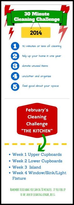 Join in on the 30 Minute Cleaning Challenge. One room per month. 30 minutes per week. One year to a clean and organized home.