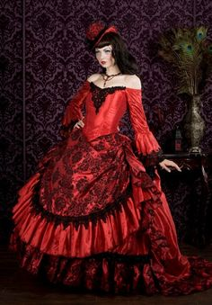 Gothic Victorian Steampunk Antoinette Fantasy Masquerade Gown Any Color or Size. $950.00, via Etsy.