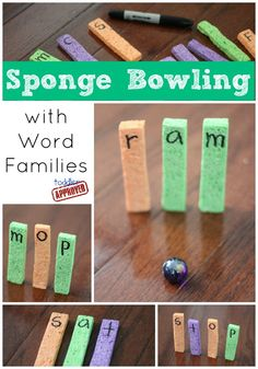Toddler Approved!: Sponge Bowling with Word Families. A fun way to practice reading words. How else have you used sponges to learn?