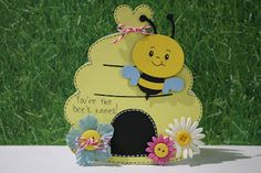"Create a Critter- hive cut at 4.76"", bee cut at 3""  My Pink Stamper Stamps- Buggy Punnies  Peachy Keen Stamps- Critter Faces SET A Medium  Twine  Buttons  Prima Flowers"
