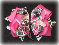 Animal Print Minnie Mouse Boutique Hair by MyBellaBellaBowtique, $6.75