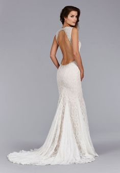 Ivory Cashmere Alencon lace Fit and Flare bridal gown, sheer embroidered crystal neckline, low open back, gored skirt, sweep train. Bridal Gowns, Wedding Dresses by Jim Hjelm Bridal - JLM Couture - Bridal Style jh8453 by JLM Couture, Inc.