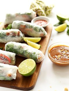 Vietnamese Spring Rolls With Crispy Tofu and Almond Butter Dipping Sauce