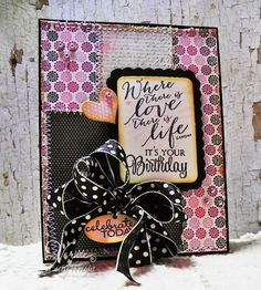 Card by Betty Wright using More than Love and Chevron Love from Verve.  #vervestamps