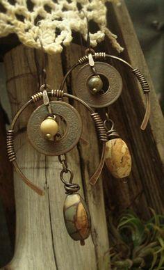Symbiosis II - Brass Earrings.