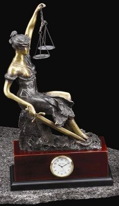 Seated Lady Justice Bronze Sculpture Desk Clock with Solid Wood Case T.P.