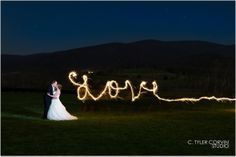 Plan out some special night photos with sparklers, light painting and more! King Family Vineyards Wedding Charlottesville, VA