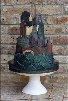 Gotham City Skyline Cake made by Bite Me Bakery, United Kingdom.