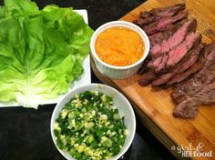 A Girl & Her Food: marinated hanger steak ssam with red kimchi puree & ginger scallion