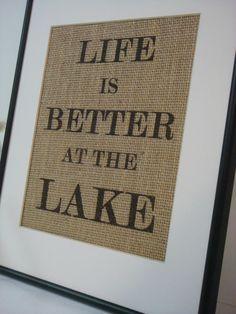 Lake House Sign on natural burlap cottage beach home decor. $16.00, via Etsy.