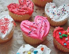 """Be Mine"" Heart Cupcakes - Place a marble in your muffin tin to create hearts!"