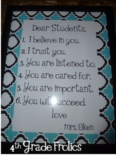 Pledge to affirm students (printed and framed) on classroom wall