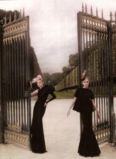 "Models: Jessica Stam, Snejana Onopka   Photographer: Karl Lagerfeld - ""High Fashion"" for Haper's Bazaar US, November 2007"
