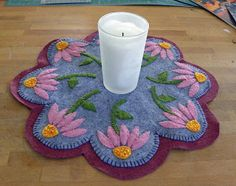 Wool felt candle rug