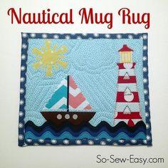 Nautical Mug Rug FREE Pattern. - via @Craftsy