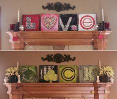 mantels, valentin mantl, holiday, project, valentine day, art, craft idea, st patricks day, mantel decor