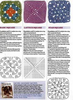 Three basic squares  #crochet #motif #granny_square
