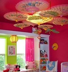 girls room by jessie. Cute umbrellas hanging. One in center over room light