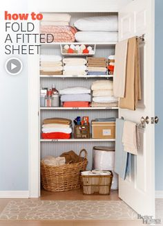 Watch how to quickly and easily fold a fitted sheet: http://www.bhg.com/videos/m/73355739/how-to-fold-a-fitted-sheet.htm?socsrc=bhgpin02022014fittedsheet