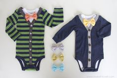 DIY Baby Boy Cardigan Onesie (with interchangeable bowties) --- Make It and Love It, easy!