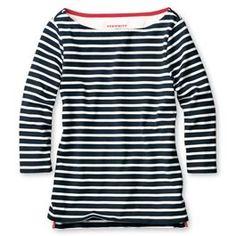 Navy & white stripe boating jersey
