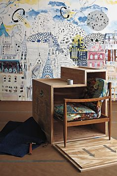 anthropologie's paint it yourself wall mural via Design Trend: Try Painterly Decor For Your Home | Design Happens