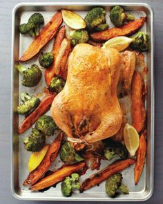 Stuffed Chicken with Roasted Broccoli and Sweet Potatoes Recipe