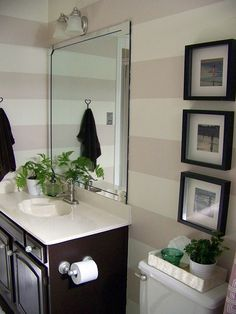 Love this wide stripe for a bathroom