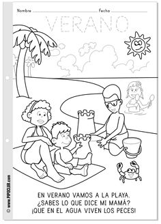 Las estaciones: el verano. Repasa, colorea y lee. #verano #actividades #colorear #preescolar #infantil #niños #playa #pipo