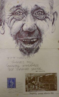 biro on 1944 envelope by mark powell bic biro drawings