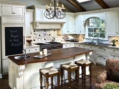 decor, kitchens, kitchen design, hous, chalkboard, vaulted ceilings, kitchen layouts, white cabinets, kitchen islands