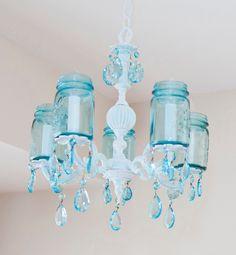 Love this vintage mason jar chandelier