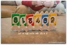 Use an egg carton to hold playing cards.  Fun for kids.