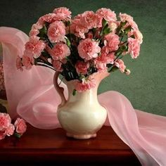 Jug of Pink Carnations