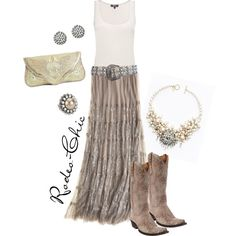 """""""Beaches of Cheyenne"""" by Rodeo-Chic, Sequin maxi skirt with Old Gringo cowboy boots, Kippy's belt, western glam, gypsy, prairie"""