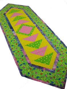Quilted Table Runner  Bright Colors   Modern Quilt by SallyManke, $29.00