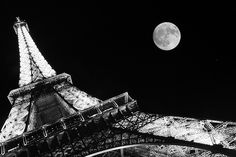 . paris, eiffel tower, tour eiffel, moon, towers, white, place, black, photographi