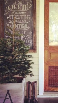 christmas tree in crate, boots, chalkboard