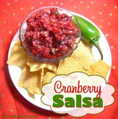 Fresh Cranberry Salsa from DianaRambles.com #recipe #jalapeno #cilantro