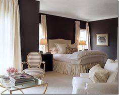 lights, decor, wall colors, gray walls, dark walls, white, master bedrooms, hous, curtain