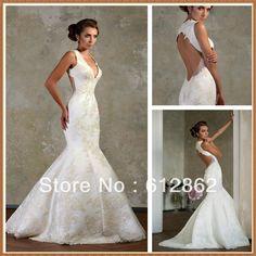 Sleeveless Mermaid Backless Lace Sexy Mermaid Wedding Dresses $169.00